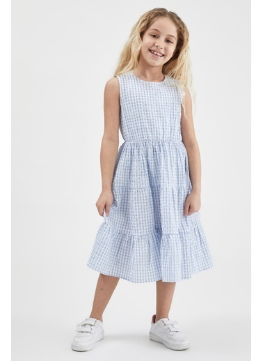 DeFacto Kız Çocuk Kolsuz Pötikareli Elbise Mavi